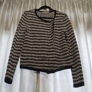 LOFT sz L asymmetrical zip sweater jacket